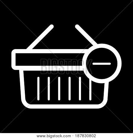 Shopping basket vector icon. Black and white Remove from cart illustration. Outline linear icon. eps 10