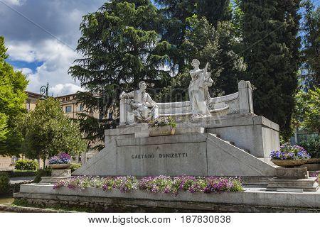 Monument Of Gateano Donizetti In Bergamo