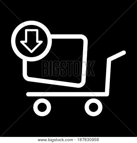 Shopping cart vector icon. To buy online, black and white illustration. Outline linear shopping icon. eps 10