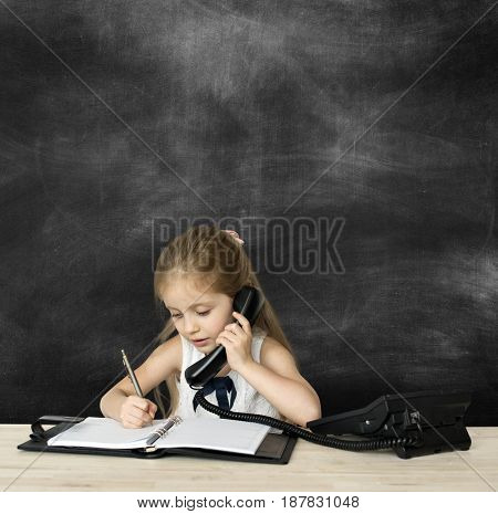 Little Girl Working Business Woman