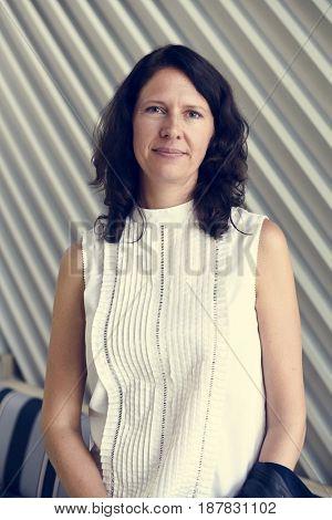Woman smiling casual studio portrait
