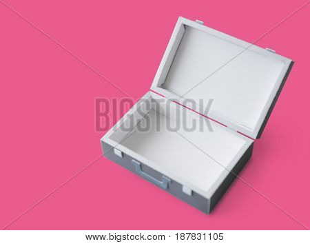 Opened Suitcase in Grey with Green Handle Isolated