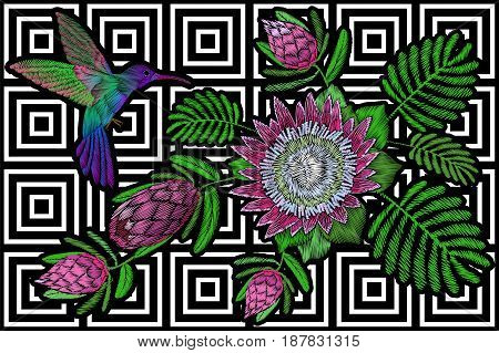 Hummingbird around flower protea exotic tropical summer blossom. Embroidery fashion patch decoration textile print black white stripe geometric background template art