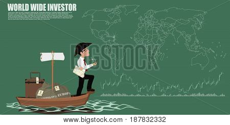 World wide investor simply with  world map background