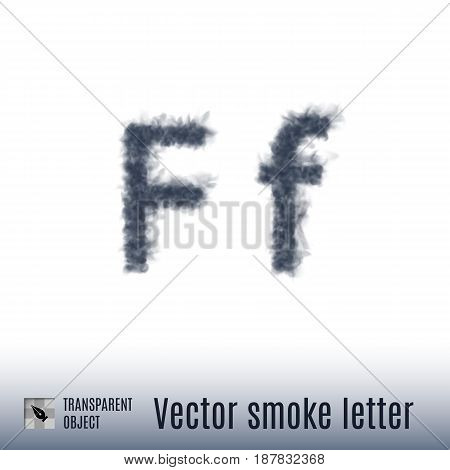 Smoke in Shape of the Letter F on White Background