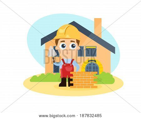 Young builder on the background of the erected house in special clothes with a spatula in his hand. Modern vector illustration isolated on white background.