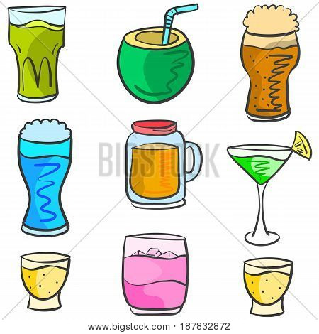 Vector art drink various doodles collection stock