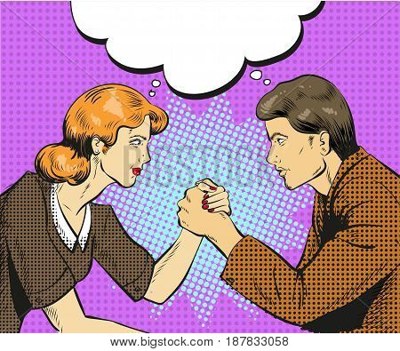 Vector illustration of arm wrestling competition between businessman and businesswoman, speech bubble. Business rivalry concept element in retro pop art comic style.