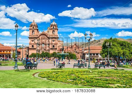 CUSCO PERU - 25 APRIL 2017: Cusco Peru - Plaza de Armas and Church of the Society of Jesus. Andes Mountains South America.