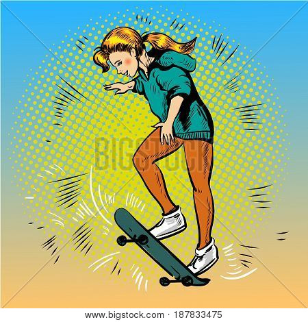 Vector illustration of young girl skateboarder riding skateboard. Skateboarding concept design element in retro pop art comic style.