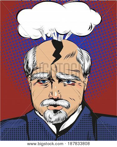 Vector illustration of elderly man having splitting headache of troubles and problems in retro pop art comic style.