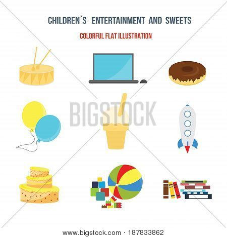Children entertainment sweet. Set of sweets equipment and children's toys. Colorful flat illustration. Illustration isolated on a white background separately