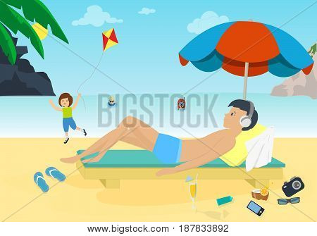 Trip to sea. Young man resting on the beach near the water on the sunbed sunning under an umbrella listening to music on the background of rocks and beautiful environment. Vector illustration.