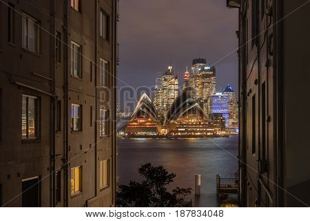 SYDNEY AUSTRALIA - May 22 2017 Panorama's sunset of Sydney Opera House and harbour bridged Sydney Australia Over 10 millions tourists visit Sydney every year.