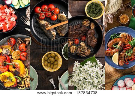 Collage of various foods cooked on the grill. Dinner table concept