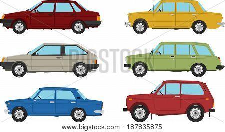 Soviet Union Retro Cars Set Vector Image