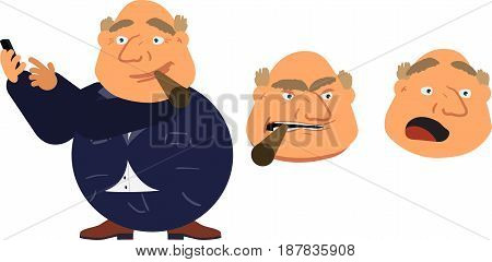 Fat Cartoon Character Rigged For Animation Holding Cigar Set