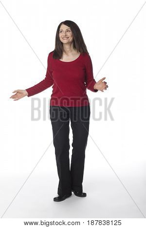 Smiling Caucasian woman with arms outstretched