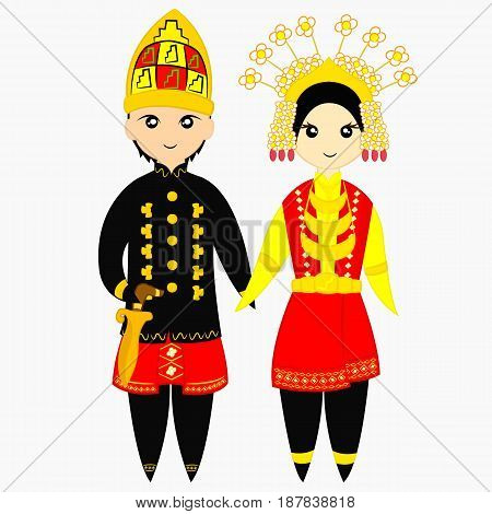 Indonesia - Aceh couple on traditional wedding dress vector illustration