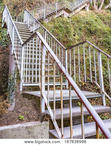 A set of stairs that go up to Coit Tower in San Francisco