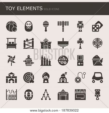 Toy Elements Thin Line and Pixel Perfect Icons