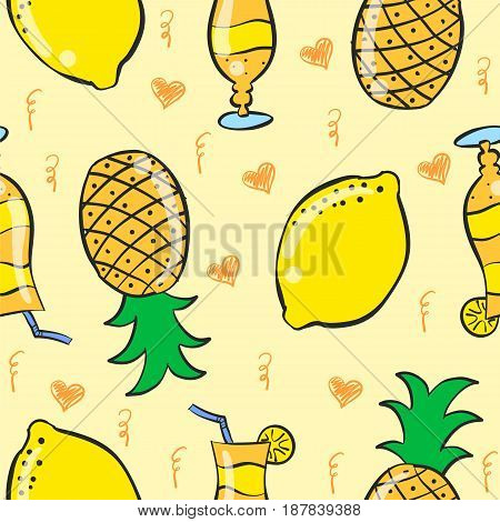Pattern drink and fruit vector art collection stock