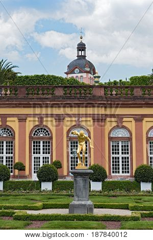 WEILBURG, GERMANY-MAY 22, 2017: The castle park with orangery by Weilburg, Hesse, Germany