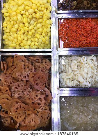 Colorful Thai Dessert. Thai Street Food - Mixed Assorted Thai Traditional Dessert In The Flea Market
