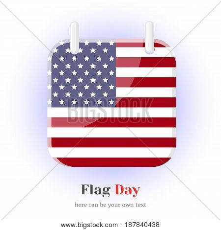 Calendar Icon with USA flag and leterring for your design isolated on blue background in simple cartoon style for Flag or Independence Day. Vector illustration. Holiday Collection.