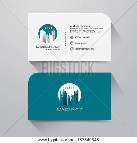 Business name card with Modern design background. Flat Design Vector Illustration. Stationery Design
