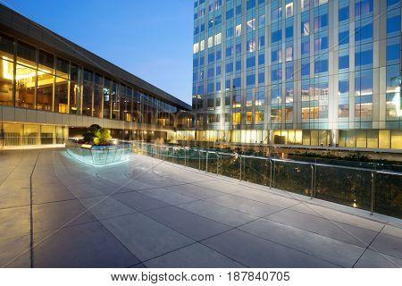 modern buildings in midtown of modern city at twilight