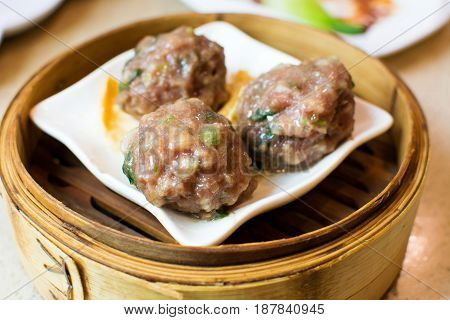 Beef Meatballs On Bamboo Food Steamer