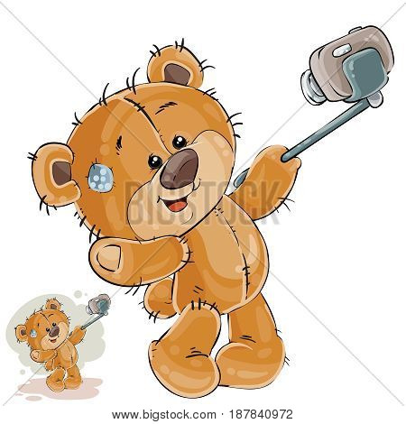 Vector illustration of a brown teddy bear makes its selfie photo on a smartphone. Print, template, design element