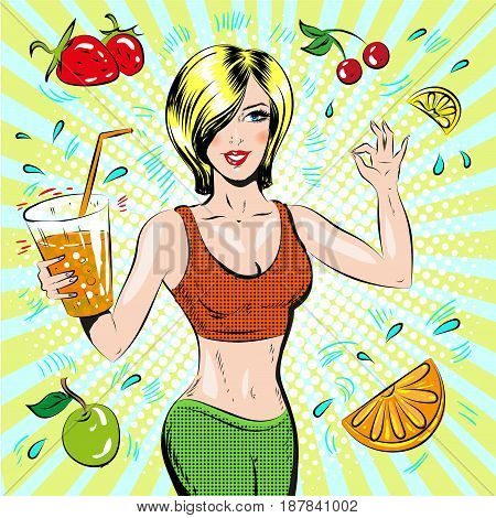 Vector illustration of beautiful sporty girl showing ok hand sign. Healthy eating and healthy lifestyle concept design element in retro pop art comic style.