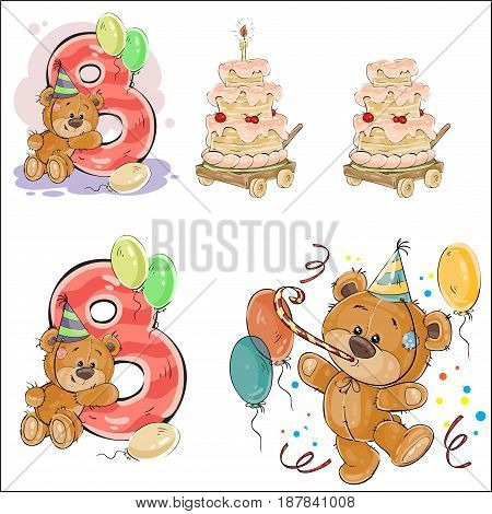Set of vector illustrations with brown teddy bear, birthday cake and number 8. Prints, templates, design elements for greeting cards, invitation cards, postcards