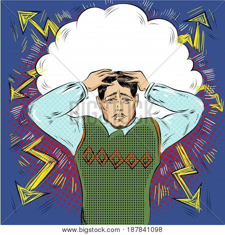 Vector illustration of stressed man. Businessman in panic, head in hands in retro pop art comic style.