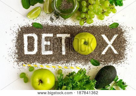 Word detox is made from chia seeds. Green smoothies and ingredients. Concept of diet cleansing the body healthy eating
