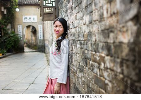 Girl In Han Chinese Clothing At Old Town