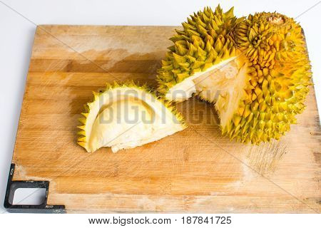 Durian Fruit Slice On A Wooden Board