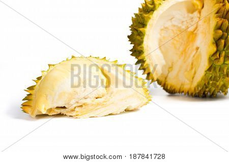 Durian Fruit Slice With Peel On White