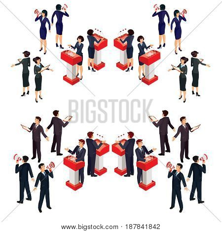 Vector illustration isometric people businessman doing a report on the podium, with loudspeaker, reading from a sheet