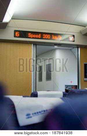 Guangzhou, China - May 3, 2017: Speed Monitor In Chinese Highway High Speed Train
