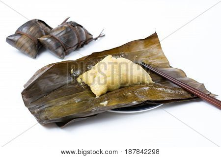 Open Zongzi With Chopsticks, Traditional Chinese Food