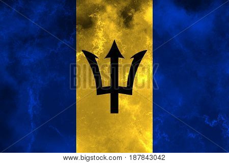 Barbados flag grunge background. Background for design in country flag