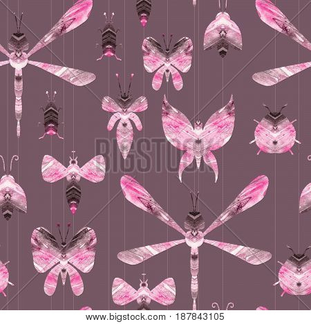 Seamless watercolor set of insects. Watercolor drawing. Background. Top front views