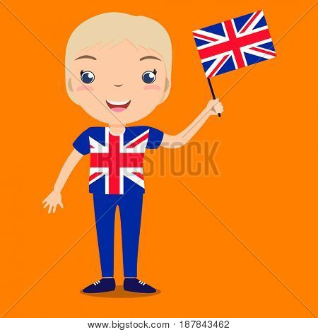 Smiling child, boy, holding a Great Britain flag isolated on orange background. Cartoon mascot. Holiday illustration to the Day of the country, Independence Day, Flag Day.