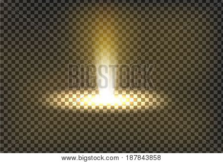 Vector illustration of a golden light ray, a light beam, a glow effect, an explosion, a flash on a transparent background