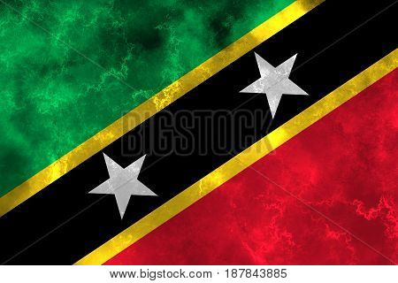 Saint Kitts and Nevis flag grunge background. Background for design in country flag