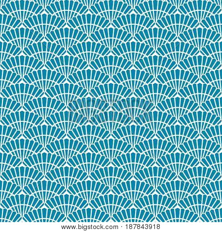 Asian blue and white seamless pattern with scallop. Abstract background for textile paper wrapper print for fabric. Vector illustration