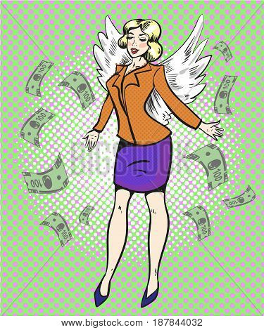 Vector illustration of successful business lady with wings on the back in retro pop art comic style.